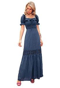 Vestido Jeans Longo Guipir Festa Fascinius Moda Feminina