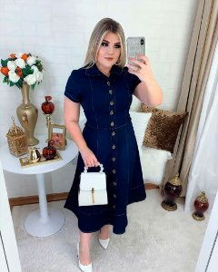 Vestido Jeans Midi Nesgas Botões Moda Feminina Evangelica