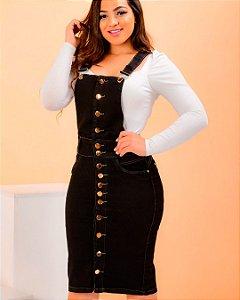 Salopete Jeans Midi Black Botões Evangelica Moda Feminina