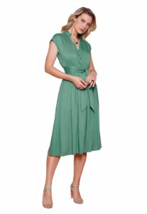 Vestido Midi Evangelico Botões Laço Fascíniu's Moda Feminina