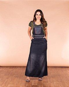 Salopete Vestido Jeans Evangelica Jardineira Longa Joyaly