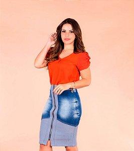 Saia Jeans Lápis Dual Color Destroyed Joyaly Moda Evangélica