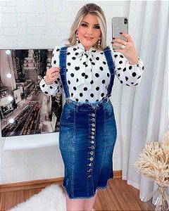 Salopete Jeans Feminina Mid Botões Destroyed Moda Evangélica