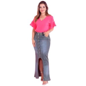 Saia Jeans Longa Risca Giz Justa Elastano Moda Evangélica