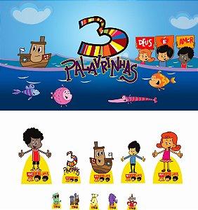 Kit Display 3 PALAVRINHAS 8 Pçs + Painel 3 PALAVRINHAS (01)