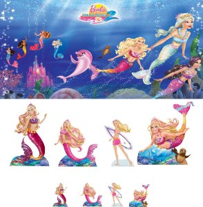 Kit Display BARBIE VIDA DE SEREIA 8 Pçs + PAINEL (01)