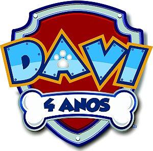 ELIPSE ESCUDO PATRULHA CANINA COM NOME DAVID 4 ANOS.