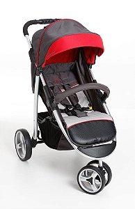 Carrinho de Bebê-Berço Galzerano Apollo Grafite e Vermelho