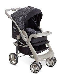 Carrinho de Bebê Berço-Passeio Galzerano Optimus Preto e Cinza