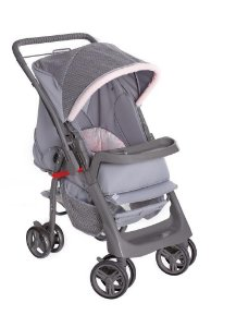 Carrinho de Bebê Berço-Passeio Galzerano Pegasus Cinza com Rosa