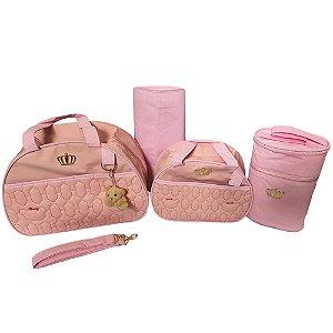Kit Bolsa Maternidade Gold Rosa