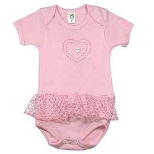 Body Coração Perolado Pink