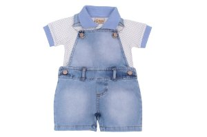 Jardineira Airplane Jeans e Azul 2 Pçs
