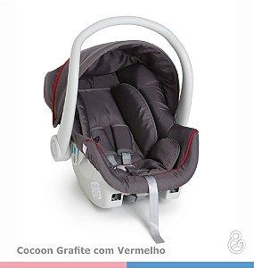 KIT Galzerano Bebê Conforto Cocoon Grafite com Vermelho + Base Grafite ou Preta