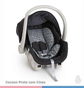 KIT Galzerano Bebê Conforto Cocoon Preto com Cinza + Base Grafite ou Preta