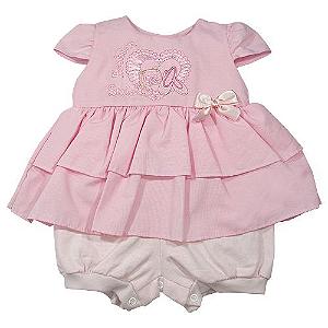Macacão Vestido Fashion Rosa