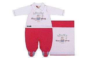 Saída Maternidade Mini Navy Vermelha e Branca