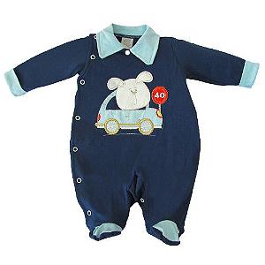 Saída Maternidade Piloto Azul Marinho com Pezinho