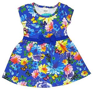 Vestido florido com laço azul