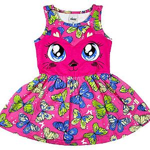 Vestido Gatinha e Borboletas Rosa