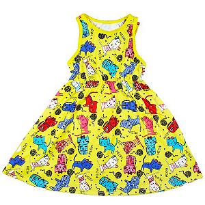 Vestido Gatinhos Coloridos