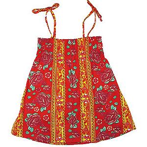 Vestido hippie de alça vermelho