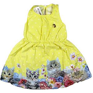 Vestido Poá de Gatinha Amarelo
