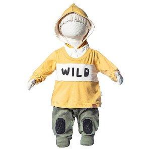 Macacão Longo Camiseta com Capuz Wild
