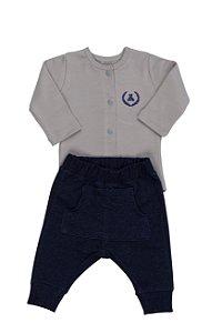 Conjunto Body Cinza e Calça Jeans Saruel