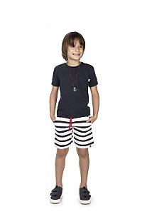 Conjunto Camiseta com Bolso E Bermuda Listrada