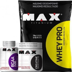 Combo Whey Pro 1,5kg + Creatina 150g + BCAA 100 Caps - Max Titanium
