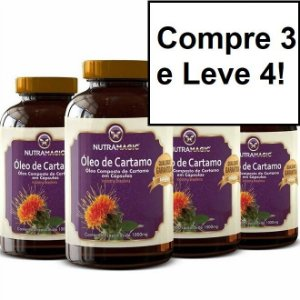 Kit 4x Óleo de Cártamo 1000mg 60 cápsulas - Nutra Magic