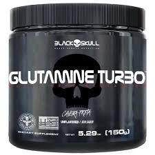 Glutamina Turbo Caveira Preta 150g - Black Skull