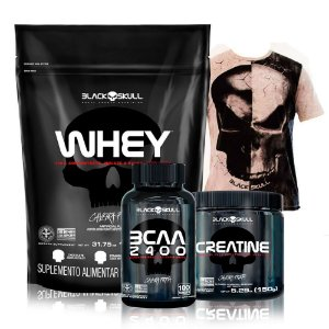 Kit Massa Black (Whey 900g+ BCAA 30 tabletes + Creatina turbo 150g) + Regata Brinde) - Black Skull