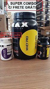 Super Combo Max (Whey Pro 1kg + BCAA 100 caps + Pré hormonal)