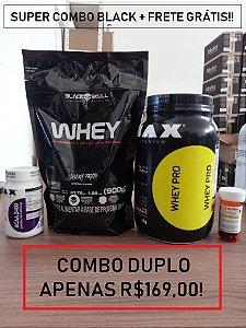 Super combo Duplo BLACK (2 Whey + BCAA 100 caps + Termogênico)