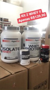 Kit Duplo 1 Whey Isolado + 1 Whey concentrado + BCAA e creatina