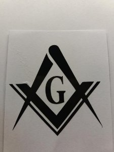 Adesivo Esquadro e Compasso Preto com G