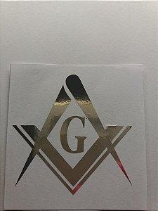 Adesivo Esquadro e Compasso Prata com G