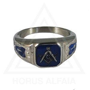 Anel Esquadro e Compasso Prateado com Azul