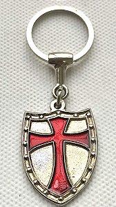 Chaveiro - Templário Prata Cruz Vermelha