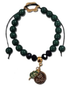 Pulseira de Pedras verdes de resina .cristal preto  e pingente de acácia.