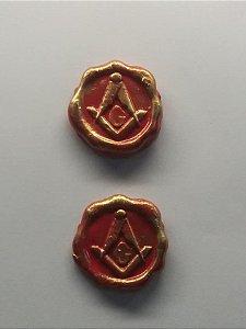 Adesivo de biscuit vermelho e dourado(cartela c/2)