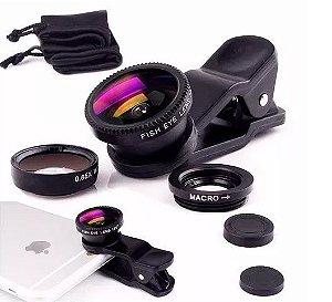 Kit Lente Para Celular Olho De Peixe Panorâmica 3 Em 1