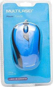 Mouse Multilaser Emborrachado Azul e Preto com Fio - MO226