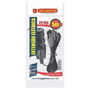 Extensão Megatron Fio Pararelo 2X0,75mm 5 Metros Preto 3 Tomadas