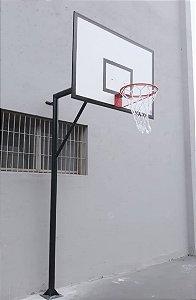 Estrutura pé direito com tabela de basquete 1,60 x 1,10 mt em laminado naval