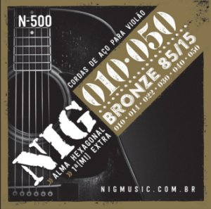Encordoamento Violão Aço 010 Cordas NIG N500 Bronze 85/15
