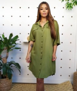 Vestido Mulher moderna Verde Militar