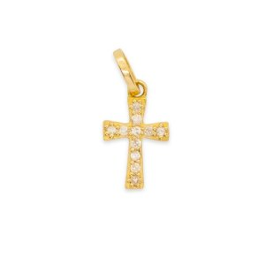 pingente cruz pavê brilhantes petit